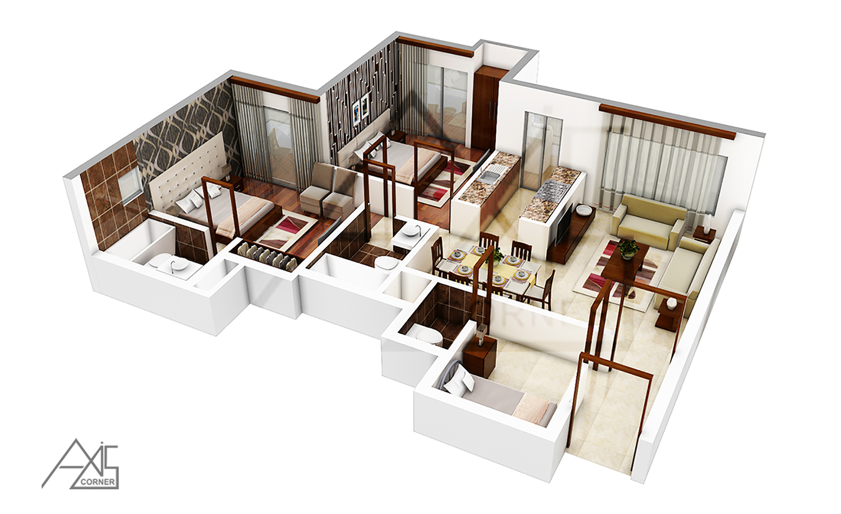 3D Architectural Floor Plans Rendering Portfolio ! 3D