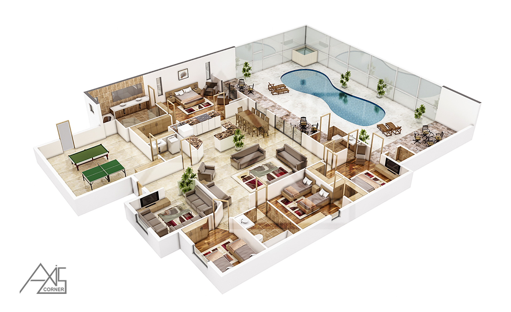 3d architectural floor plans rendering portfolio 3d for Floorplans 3d